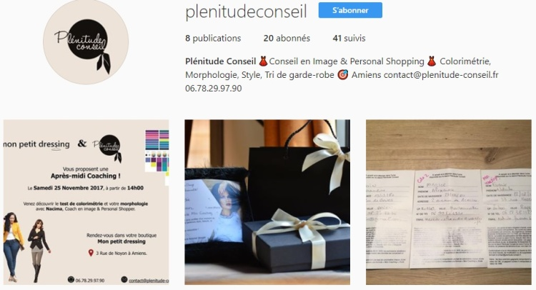 Plénitude conseil instagram