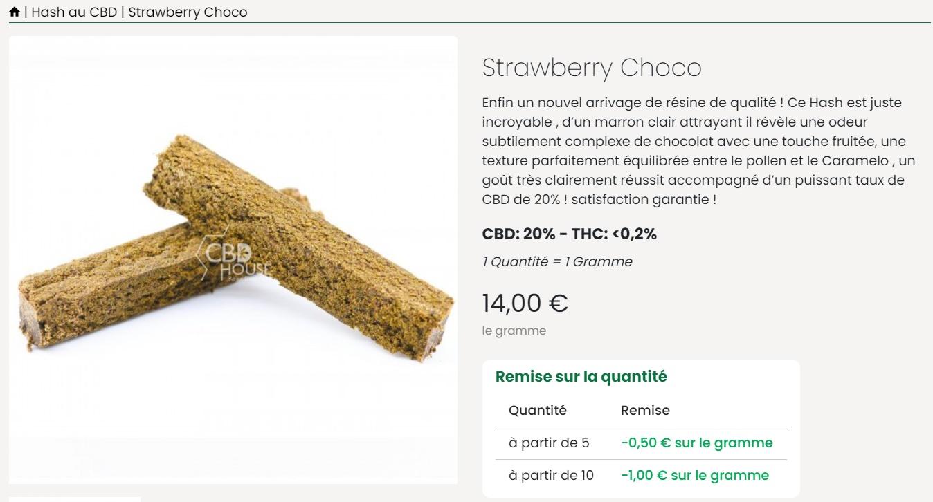 cbdhouseparis hash wtraberry choco