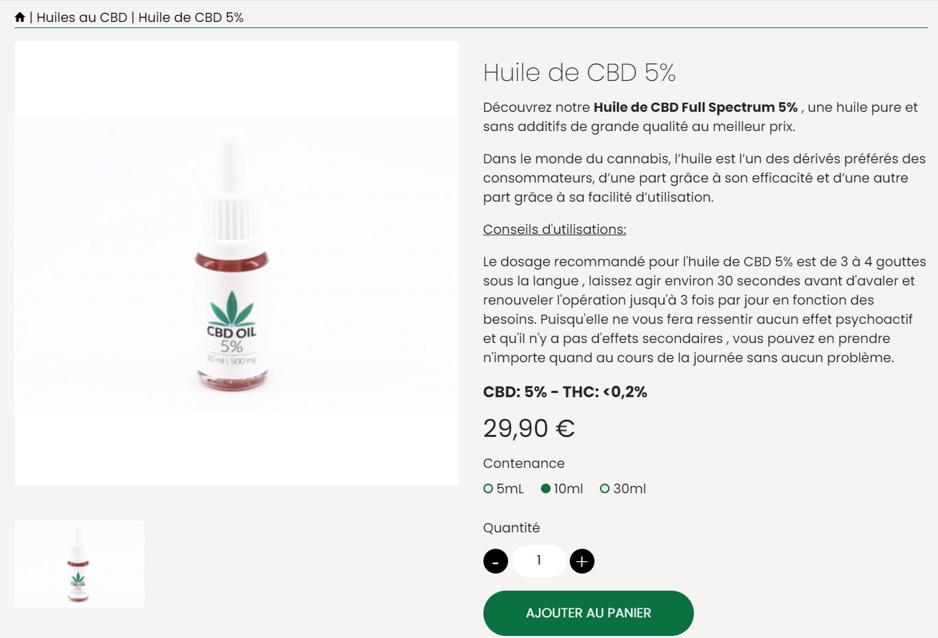 HUILE CBD 5% cbdhouseparis